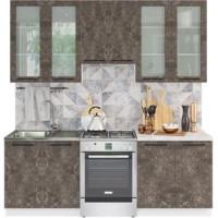 Кухонный гарнитур Нувель 2,2м Бетон коричневый