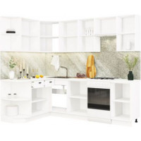 Кухонный гарнитур Чикаго 1,5м на 2,6м Шагрень белая