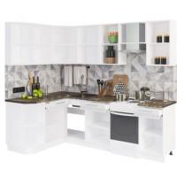 Кухонный гарнитур Мокко 1,5м на 2,4м Глянец кофе с молоком