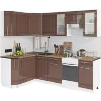 Кухонный гарнитур Мокко 1,5м на 2,4м Глянец шоколад