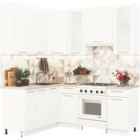 Кухонный гарнитур Олива 1,6м на 2м Металлик белый