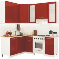 Кухонный гарнитур Олива 1,6м на 2м Металлик гранат