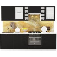 Кухонный гарнитур Чикаго 2,6м Шагрень черная