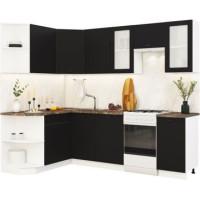 Кухонный гарнитур Чикаго 1,5м на 2,6м Шагрень черная