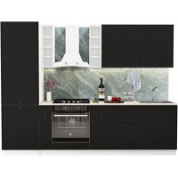 Кухонный гарнитур Чикаго 2,8м Шагрень черная